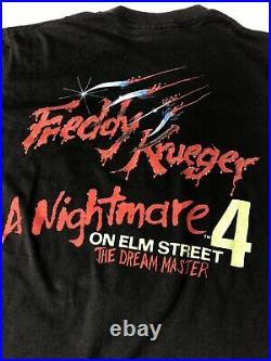 80S Nightmare On Elm Street 4 The Dream Master Freddy Horror T Shirt Size L Mens