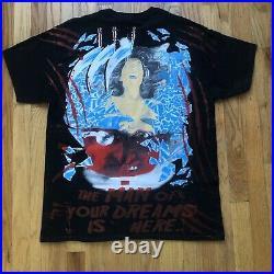 Men's Vintage Style Bootleg Nightmare on Elm Street All Over Print T Shirt Sz L