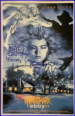Robert Englund Heather Langenkamp Signed Nightmare On Elm Street 11x17 UK Poster