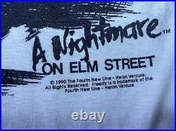 Vintage 90s 1990 Freddy Krueger Nightmare on Elm Street Horror Movie T Shirt RR